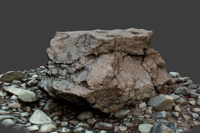 rock on ground 3d model low-poly max obj fbx tga 1