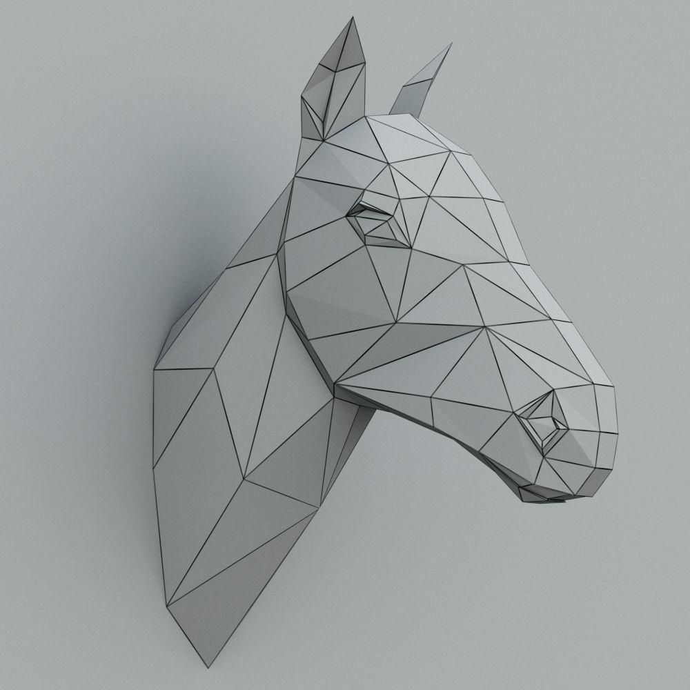 Horse Paper Head 3d Model Max Obj Mtl 3