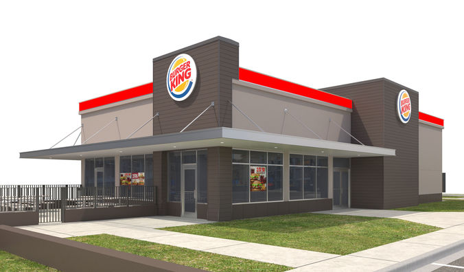 Retail 021 Burger King With Site 3D Model