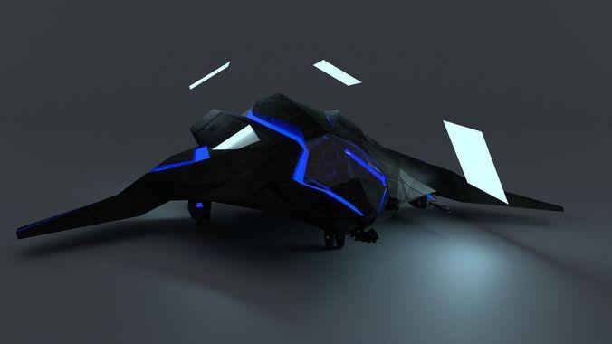 Colisão - Heylel e Ale'ek Sci-fi-stealth-dropship-and-light-gunship-hybrid-3d-model-rigged-blend