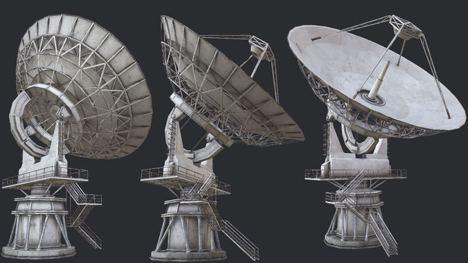 large array radio telescope pbr 3d model low-poly max obj mtl 3ds fbx dae tga 1
