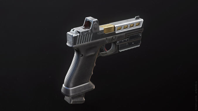 glock 17 custom pistol with attachments 3d model rigged max obj 3ds fbx tga unitypackage 1