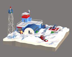 3D asset Antarctic scene low poly
