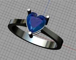 hearcut-diamond 3D printable model Heart ring