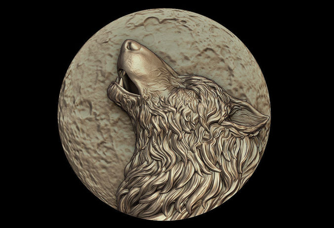 howling wolf medallion 3d model obj mtl stl 1