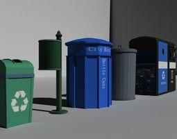 3D asset Garbage-Recycle Bins Package