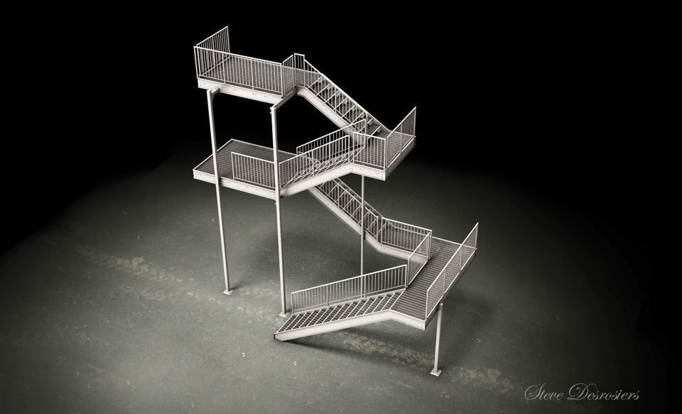 Charming Galvanized Steel Stair Dwg 3d Model Dwg 1 ...
