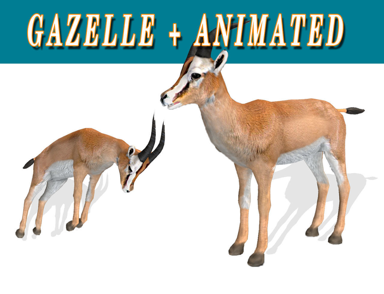 Low poly Gazelle Animated - Game Ready