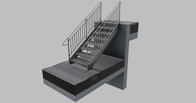 Straight Steel Stair 3D Model