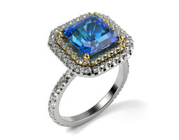 3D printable model Large Sapphire ring
