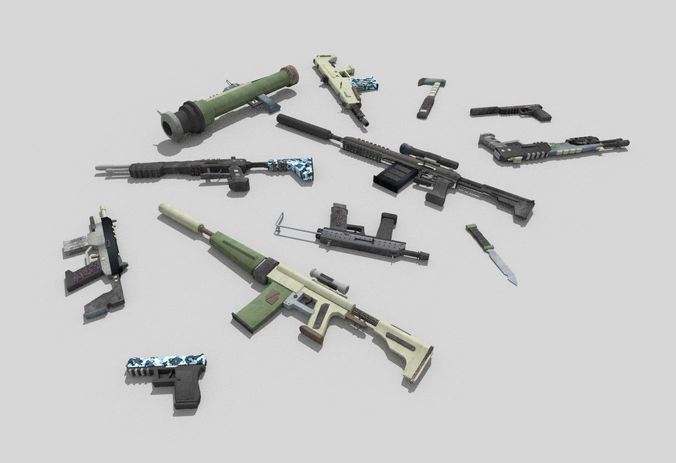 12 low poly no brand weapons