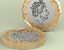 3D model New British Pound Coin