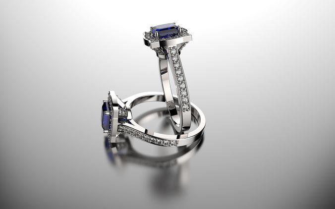 Square Diamond Wedding Ring 3D print model CGTrader