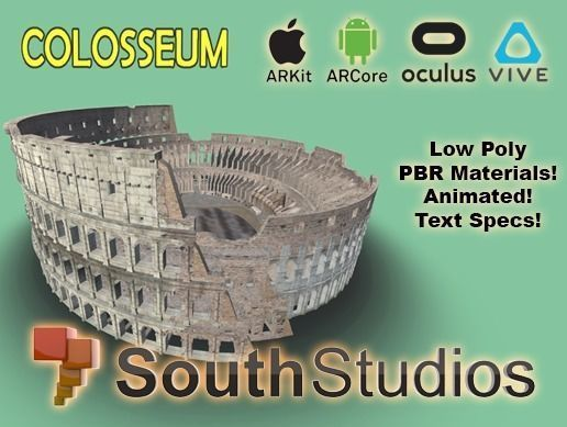 animated colosseum ar vr unity 3dsmax 3d model low-poly animated max fbx unitypackage prefab 1