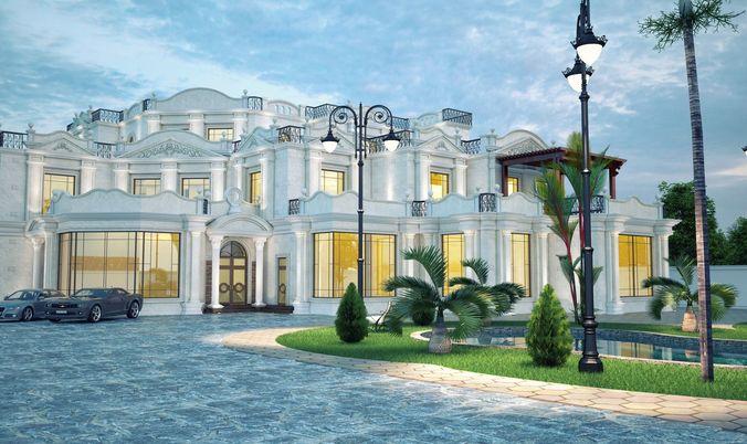 Exterior: 3D Model Exterior Villa Night Scene Inc Render Setup 1