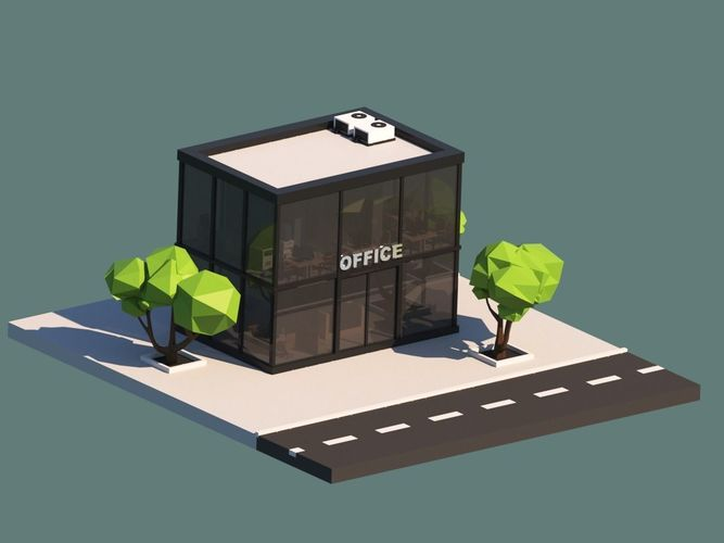 3d Model Cartoon Low Poly Office Building Cgtrader