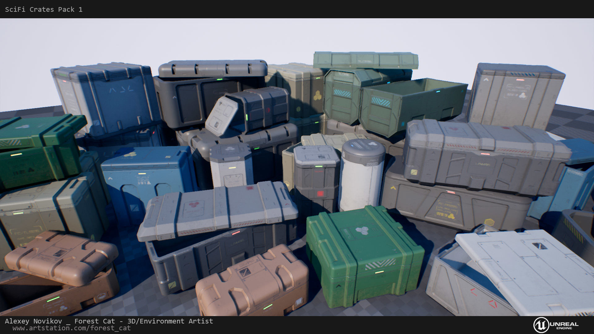 SciFi Crates Pack 1 Unity UE4 Low Poly Game Ready | 3D model