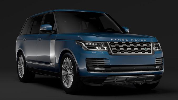 3d model range rover autobiography lwb l405 2018. Black Bedroom Furniture Sets. Home Design Ideas
