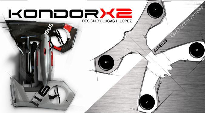 kondor airbus drone 3d model low-poly obj mtl 3ds fbx 3dm ige igs iges 1