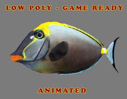 3D asset Low poly Orangespine Unicornfish Animated - Game