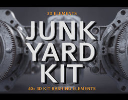 PBR Junk Yard Kit - 50 plus 3d Elements junk