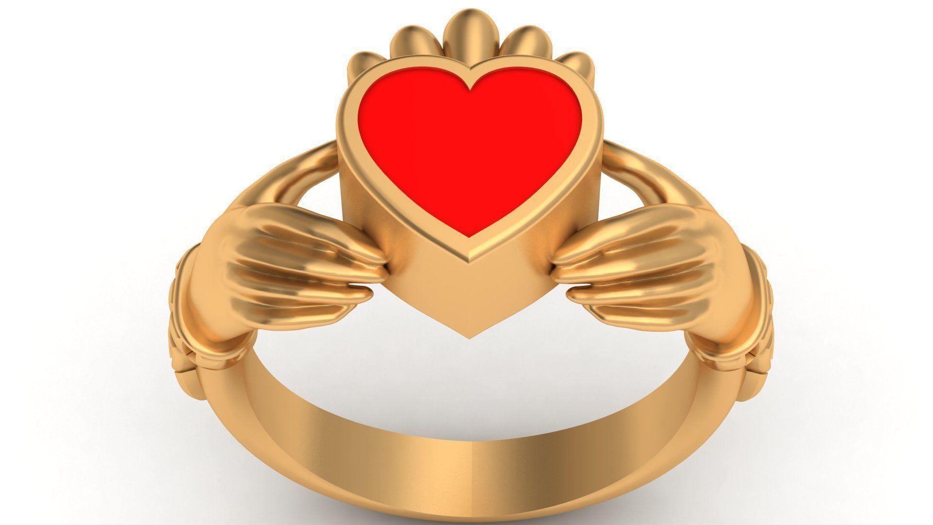 Claddagh Celt Heart Love Enamel Gold Ring