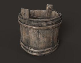 Wooden bucket 3D asset realtime