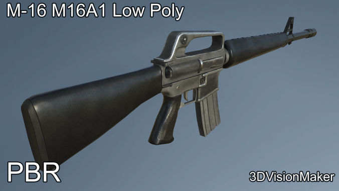 m16 m16a1 low poly 3d asset cgtrader