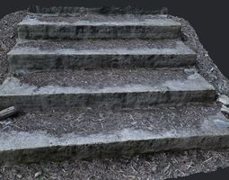 VR / AR ready forest stairs steps 3d scanned