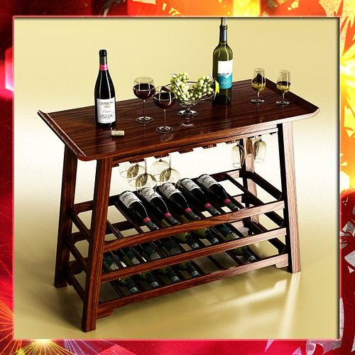 3d Model Wine Rack Table Bottles Cups And Grapes