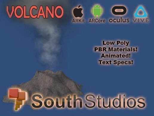 animated volcano ar vr unity 3dsmax 3d model low-poly rigged animated max unitypackage prefab 1