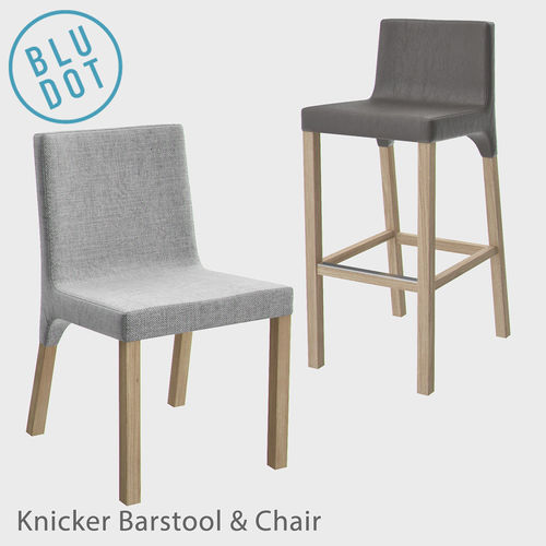 Blu Dot Knicker Barstool And Chair 3D Model