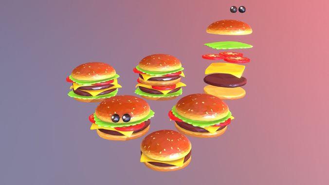 lowpolyart burger cheeseburger constructor 3d model max obj mtl 3ds fbx ma mb 1