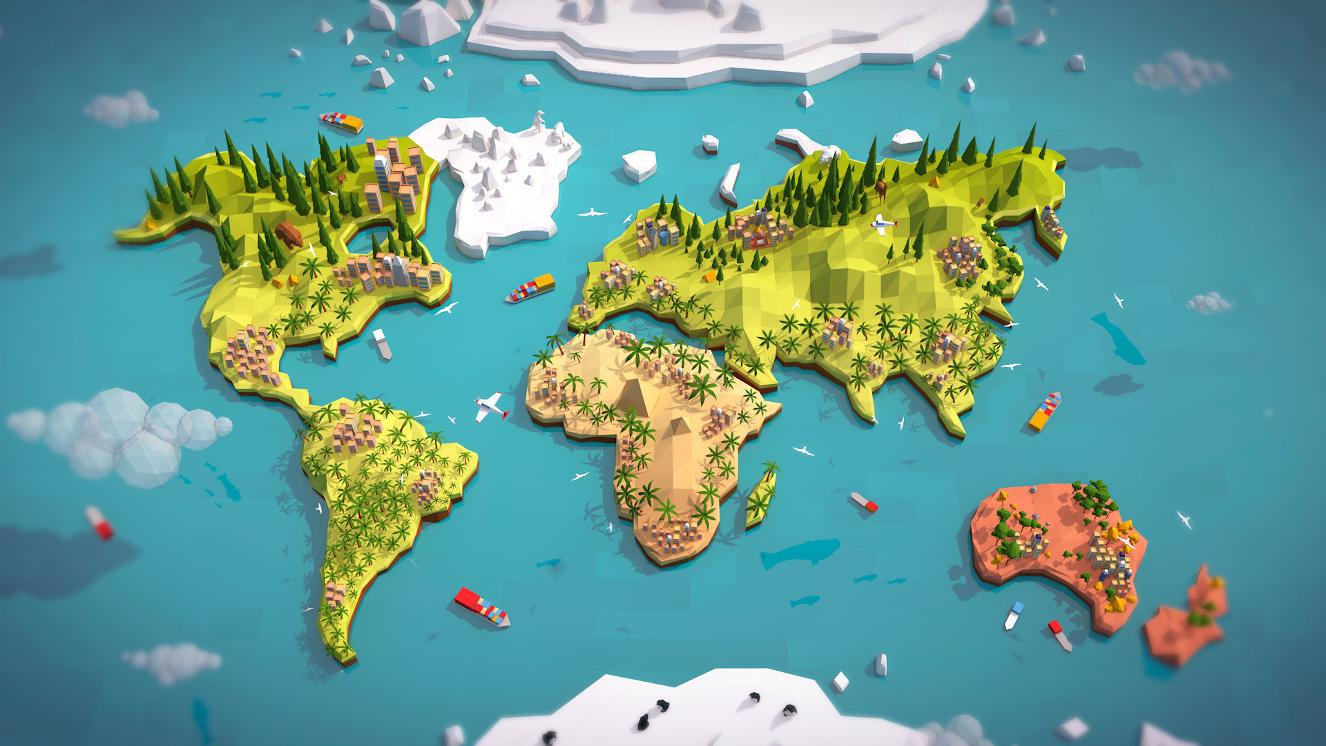 Cartoon Low Poly Earth World Map 3D model | CGTrader on