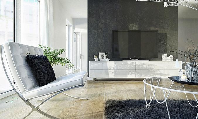 3D model living room tv Living room