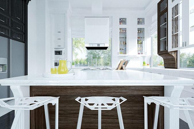 Royal kitchen design interior 3D model MAX