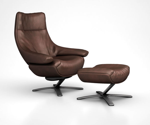 Gentil Natuzzi Re Vive Leather Recliner And Ottoman Set By West Elm 3D Model