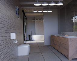 3D toilet interior-design bathroom