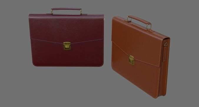 briefcase 1a 3d model low-poly obj mtl fbx blend 1