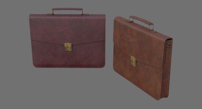 briefcase 1c 3d model low-poly obj mtl fbx blend 1