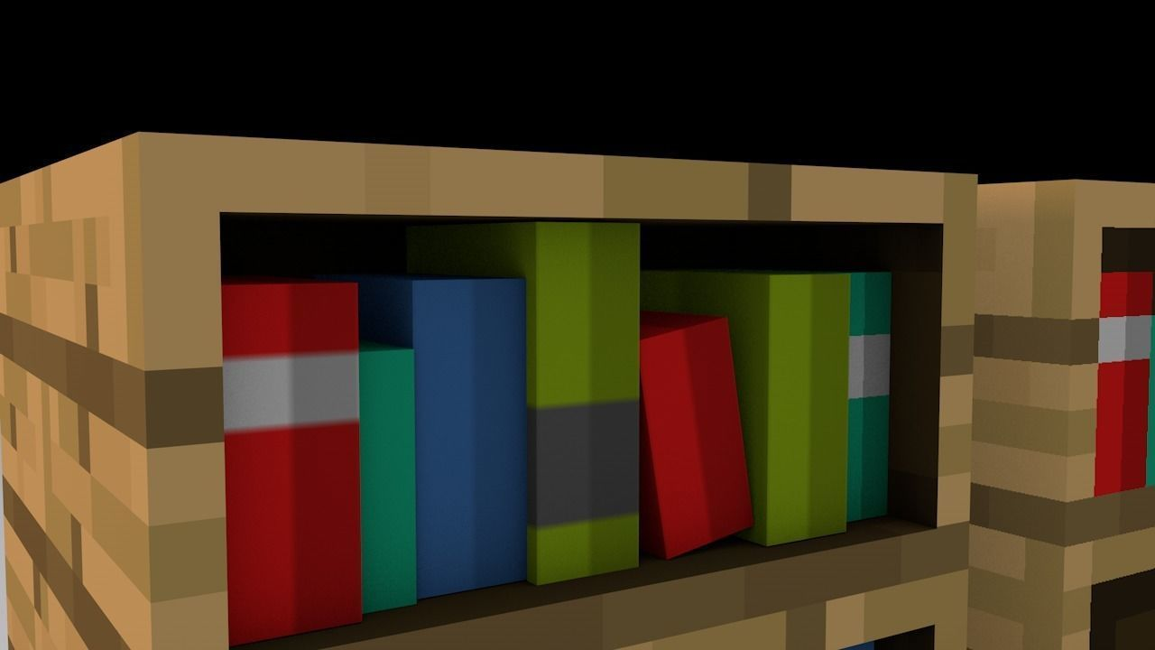 3d Minecraft Bookshelf Model Low Poly Obj Mtl 3ds Fbx C4d 2
