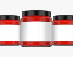 Red Jar with Label and Cover 3D