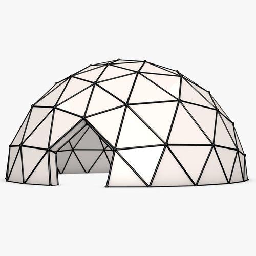 Dome House Futuristic: Futuristic 3D Model Half-Sphere Geodesic Dome