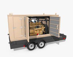 Yellow Generator on Wheels 3D
