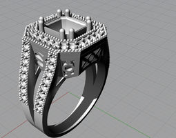 3D model fancy diamond ring