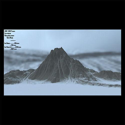 snow mountain 6 3d model low-poly obj mtl fbx blend 1