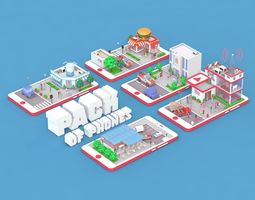 Low Poly Buildings on Mobile Phone 3D model low-poly