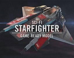 3D asset Sci-Fi Starfighter Spaceship for Unreal Engine 4