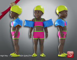 3D Swimming pool Child Female model AAF 001