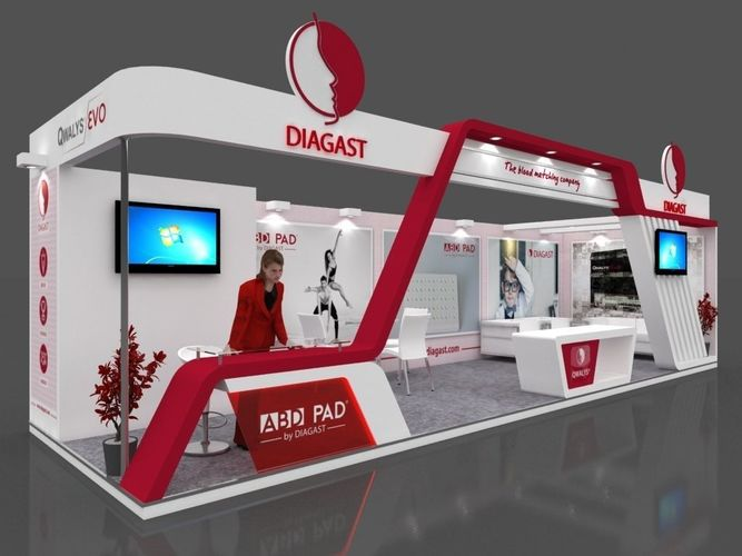 exhibition stall 3d model 10x3 mtr 2 sides open diagast booth 3d model max 1